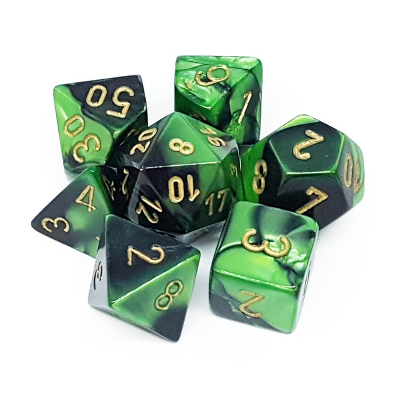 Chessex 26439 Gemini Black-Green/Gold Dice Set - Imaginary Adventures