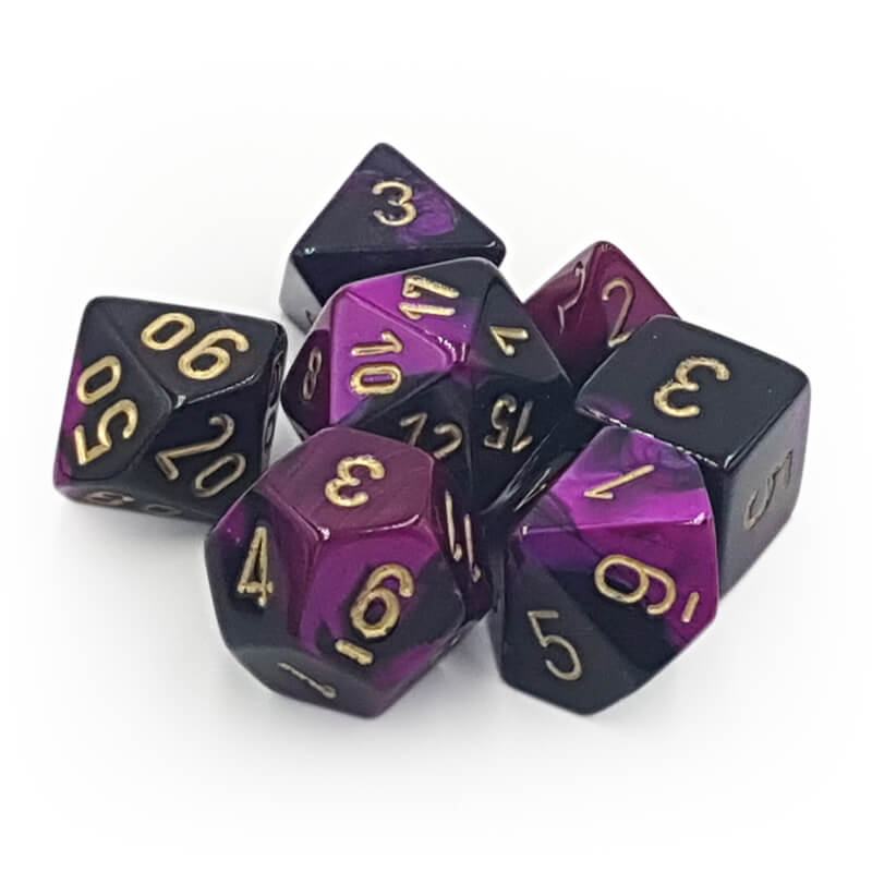 Chessex 26440 Gemini Black-Purple/Gold Dice Set - Imaginary Adventures