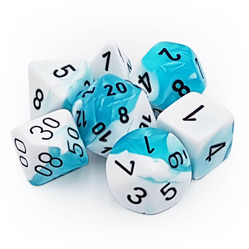 7 Dice Set - Chessex 26444 Gemini Teal-White/Black - Imaginary Adventures