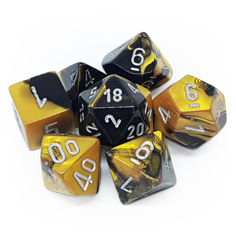 7 Dice Set - Chessex 26451 Gemini Black-Gold/Silver - Imaginary Adventures