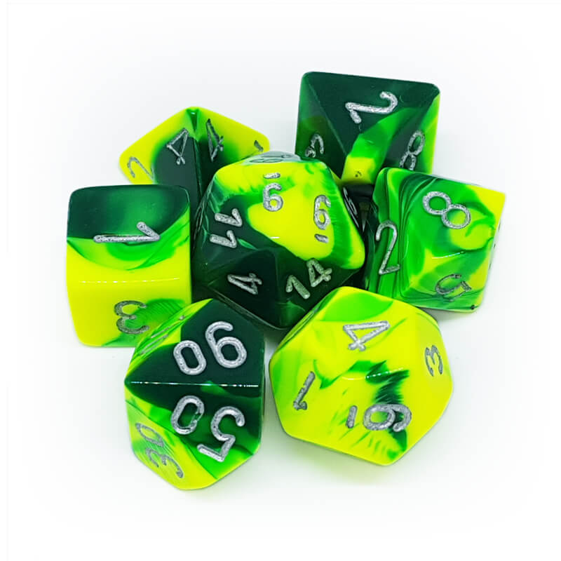 7 Dice Set - Chessex 26454 Gemini Green-Yellow/Silver - Imaginary Adventures