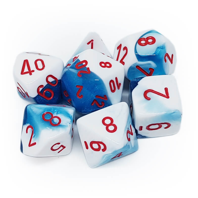 7 Dice Set - Chessex 26457 Gemini Astral Blue-White/Red - Imaginary Adventures