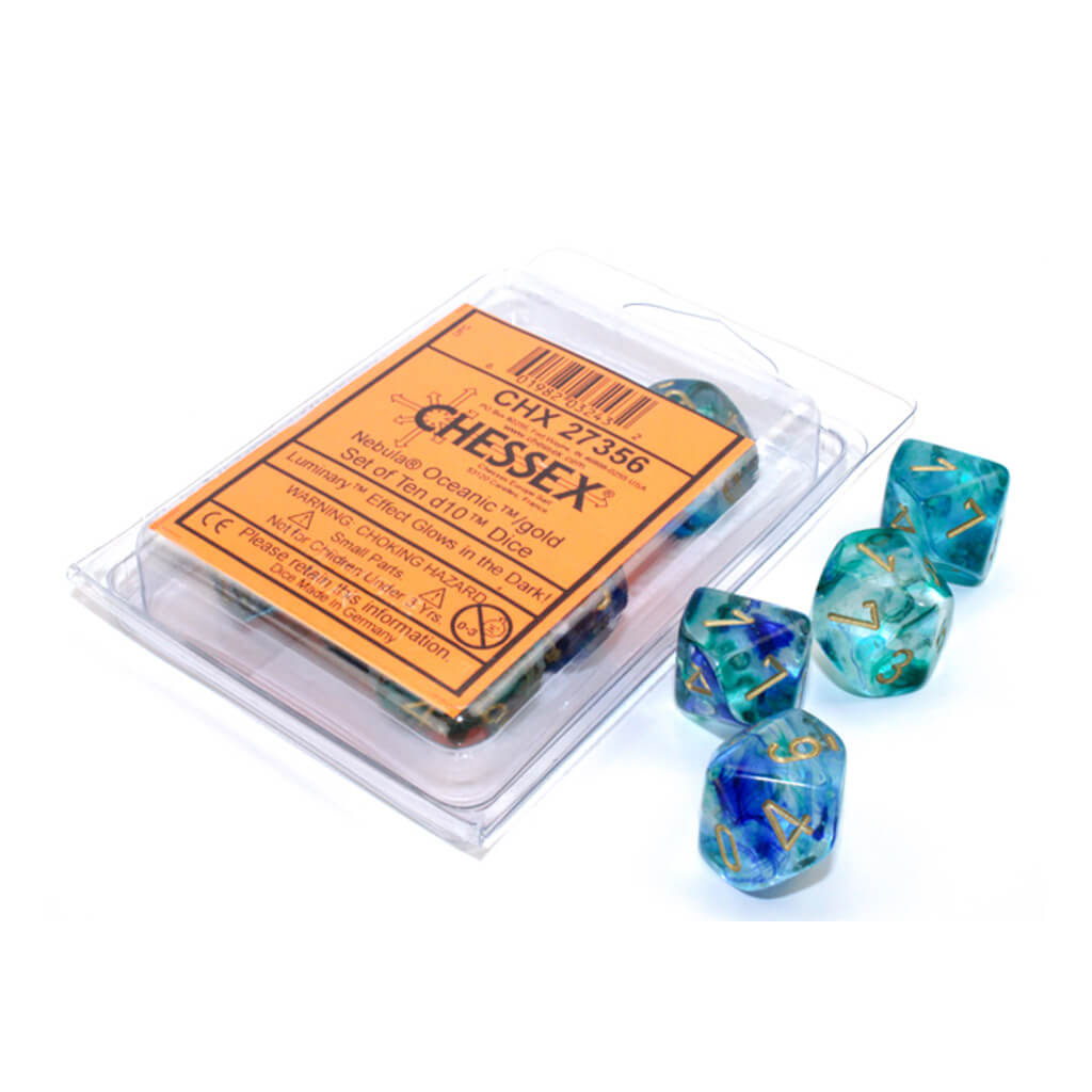 Chessex 27356 Luminary Nebula Oceanic with Gold d10 Dice Set