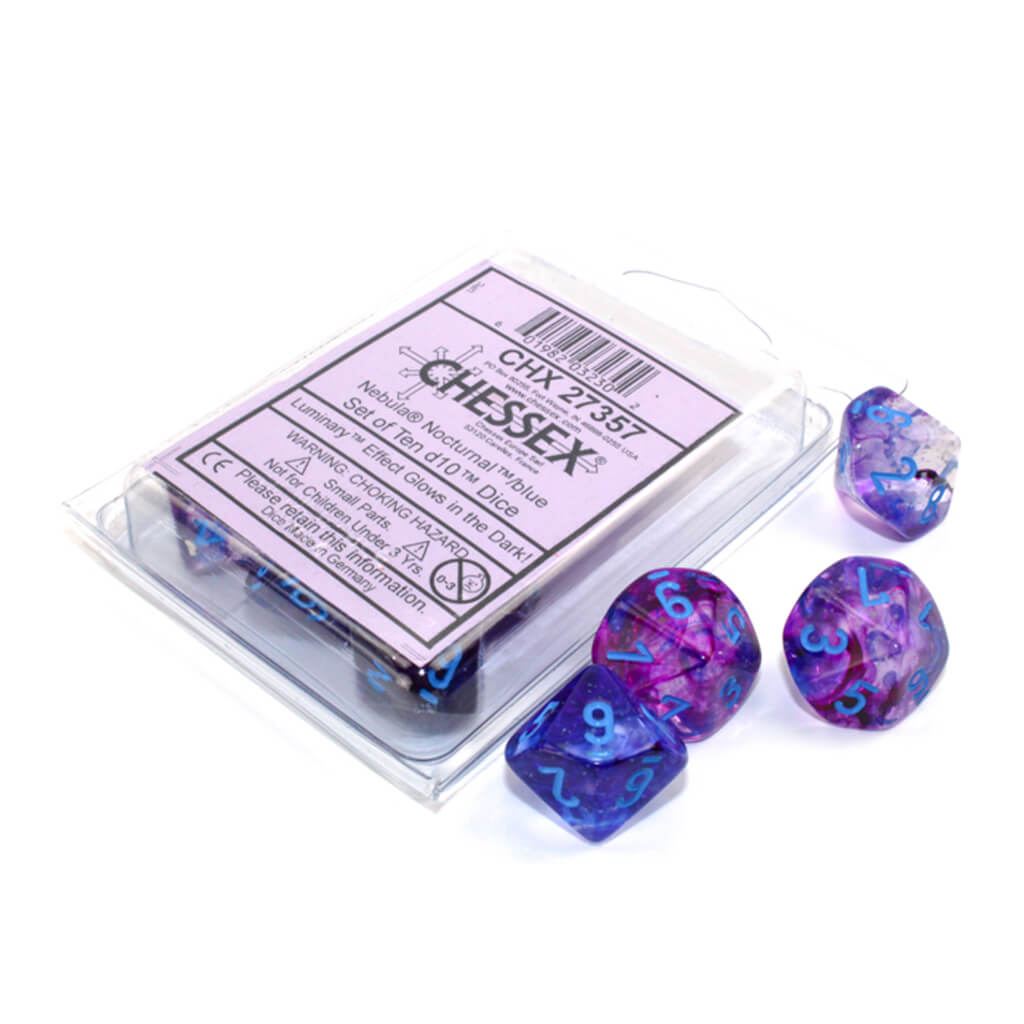 Chessex 27357 Luminary Nebula Nocturnal with Blue d10 Dice Set