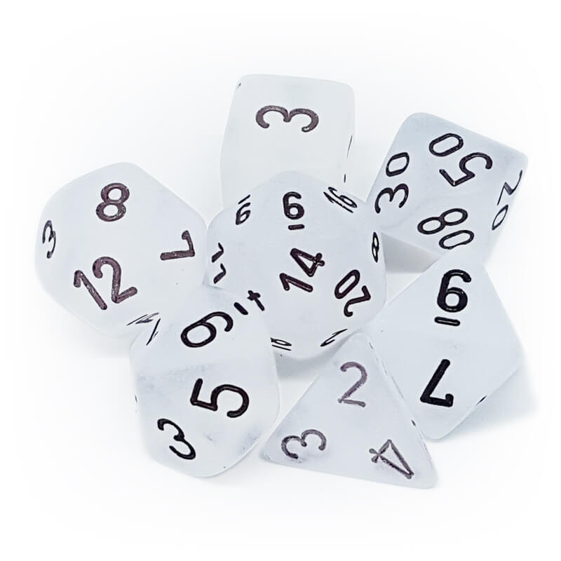 7 Dice Set - Chessex 27401 Frosted Clear/Black - Imaginary Adventures