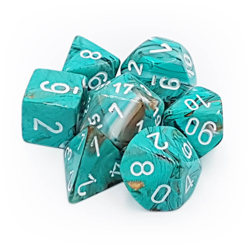 Chessex 27403 Marble Oxi Copper/White Dice Set - Imaginary Adventures