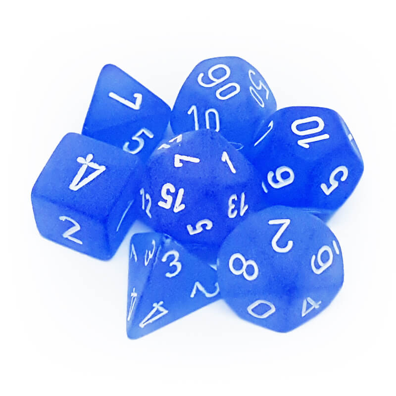 Chessex 27406 Frosted Blue/White Dice Set - Imaginary Adventures