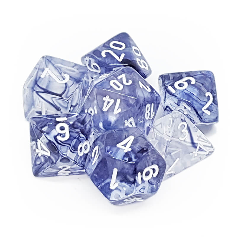 Chessex 27408 Nebula Black/White Dice Set - Imaginary Adventures
