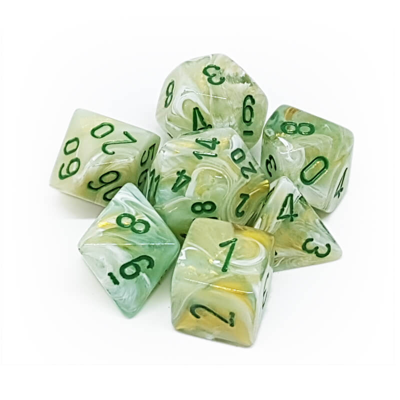 7 Dice Set - Chessex 27409 Marble Green/Dark Green - Imaginary Adventures