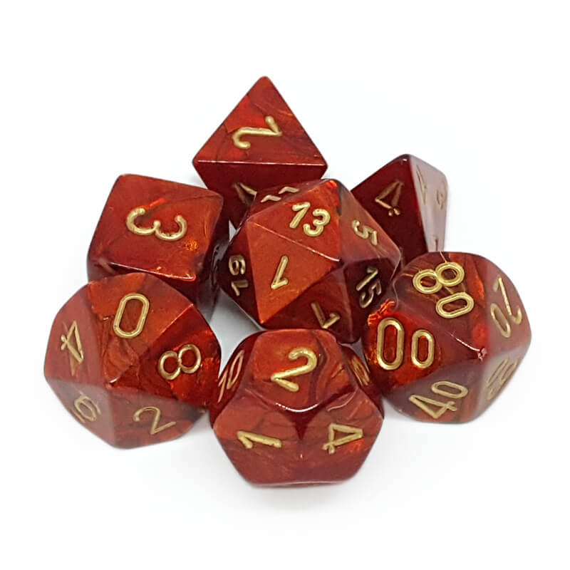 Chessex 27414 Scarab Scarlet/Gold Dice Set - Imaginary Adventures