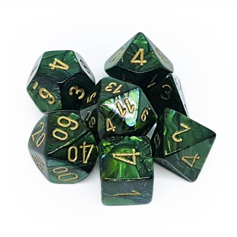 Chessex 27415 Scarab Jade/Gold Dice Set - Imaginary Adventures