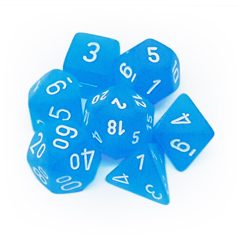 7 Dice Set - Chessex 27416 Frosted Caribbean Blue/White - Imaginary Adventures