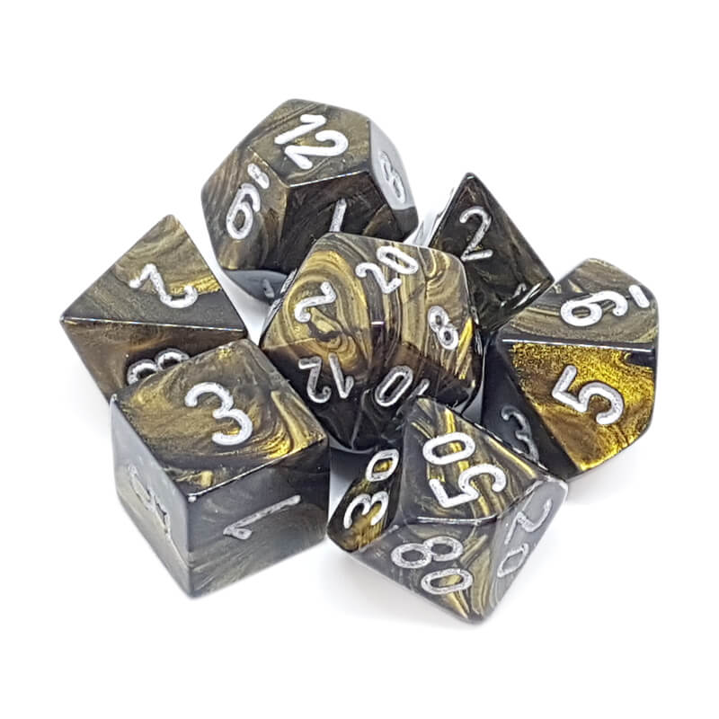 7 Dice Set - Chessex 27418 Leaf Black Gold/Silver - Imaginary Adventures