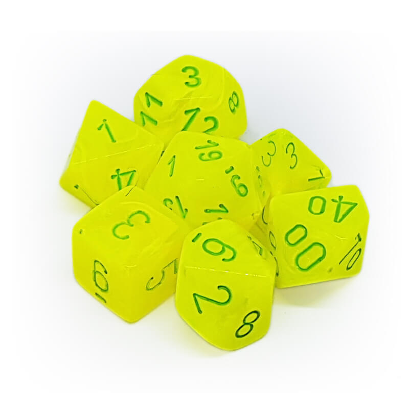 Chessex 27422 Vortex Bright Yellow/Green Dice Set - Imaginary Adventures
