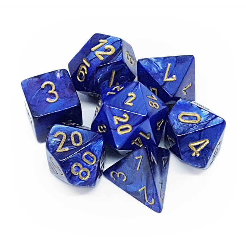 Chessex 27427 Scarab Royal Blue/Gold Dice Set - Imaginary Adventures