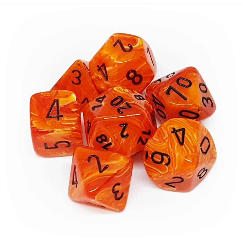 Chessex 27433 Vortex Orange/Black Dice Set - Imaginary Adventures