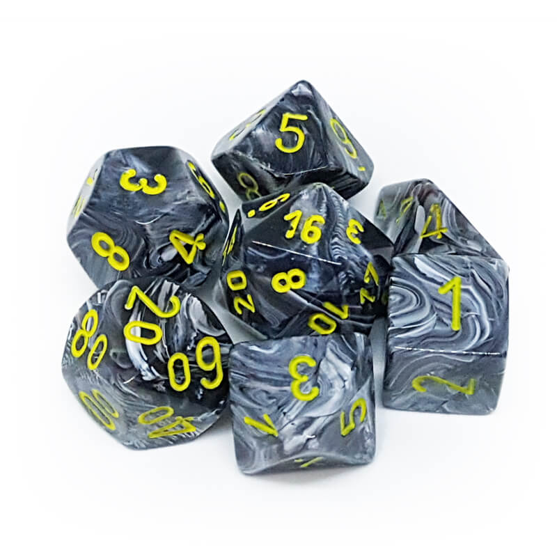 7 Dice Set - Chessex 27438 Vortex Black/Yellow - Imaginary Adventures