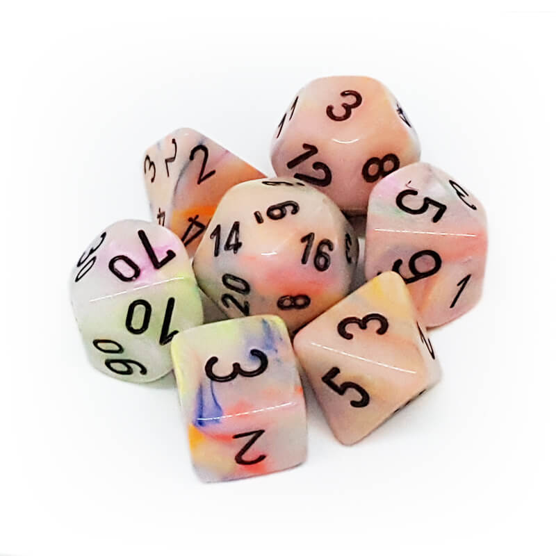 7 Dice Set - Chessex 27442 Festive Circus/Black - Imaginary Adventures