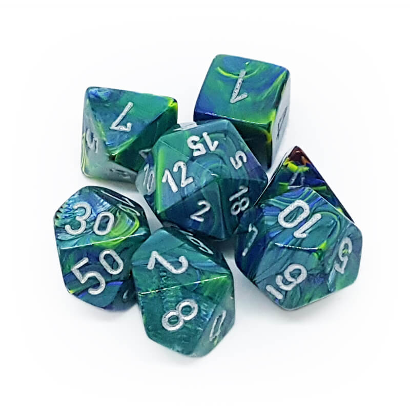 7 Dice Set - Chessex 27445 Festive Green/Silver - Imaginary Adventures