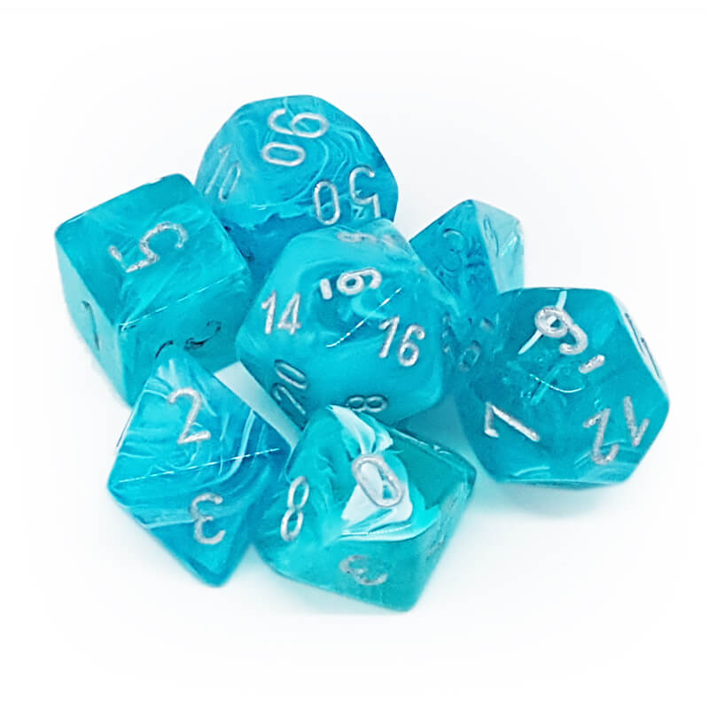 Chessex 27465 Cirrus Aqua/Silver Dice Set - Imaginary Adventures