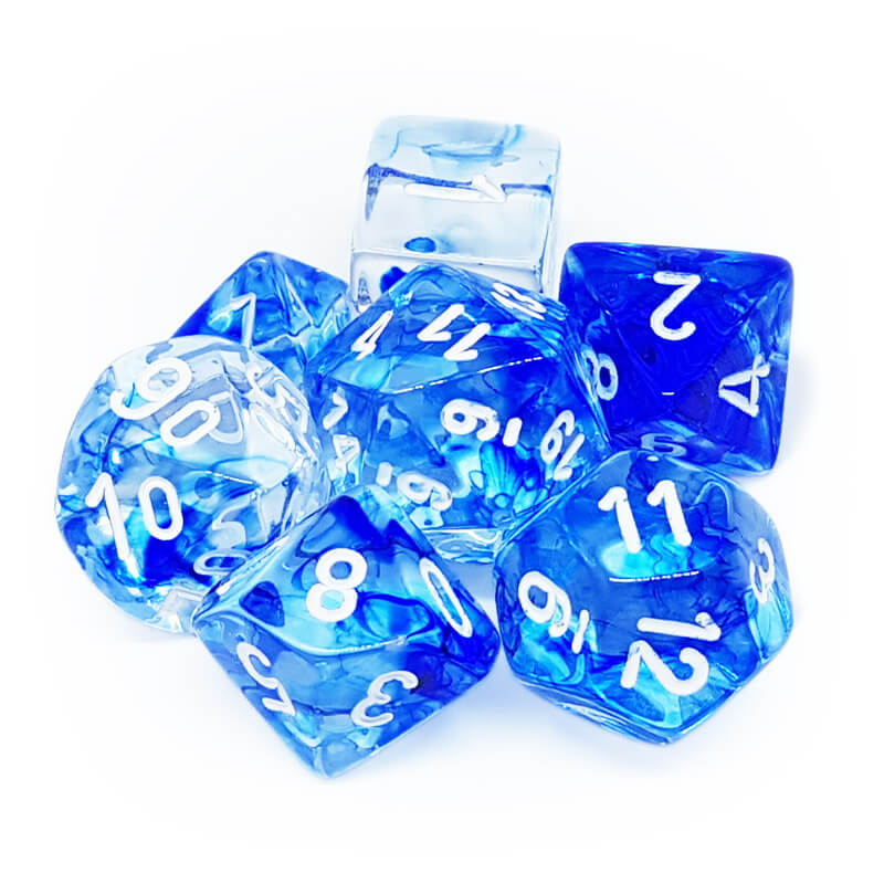 7 Dice Set - Chessex 27466 Nebula Dark Blue/White - Imaginary Adventures