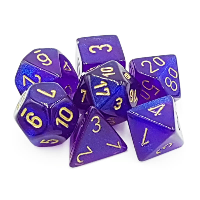 Chessex 27467 Borealis Royal Purple/Gold Dice Set - Imaginary Adventures