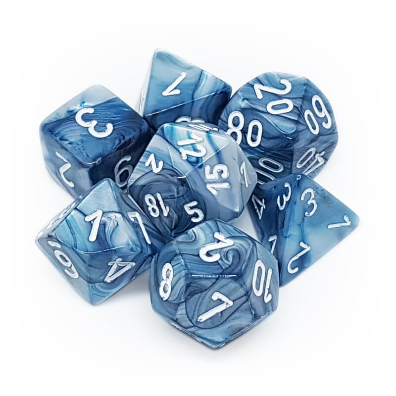 7 Dice Set - Chessex 27490 Lustrous Slate/White - Imaginary Adventures