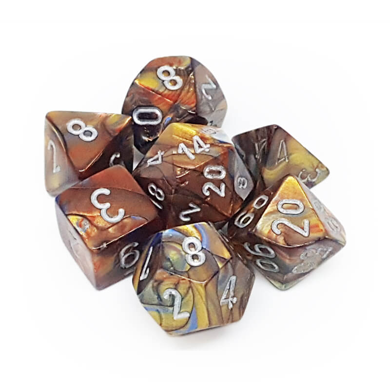 7 Dice Set - Chessex 27493 Lustrous Gold/Silver - Imaginary Adventures