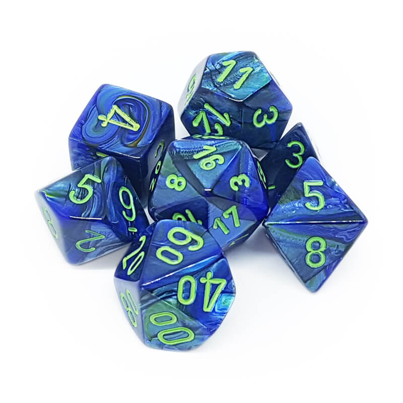 Chessex 27496 Lustrous Dark Blue/Green Dice Set - Imaginary Adventures