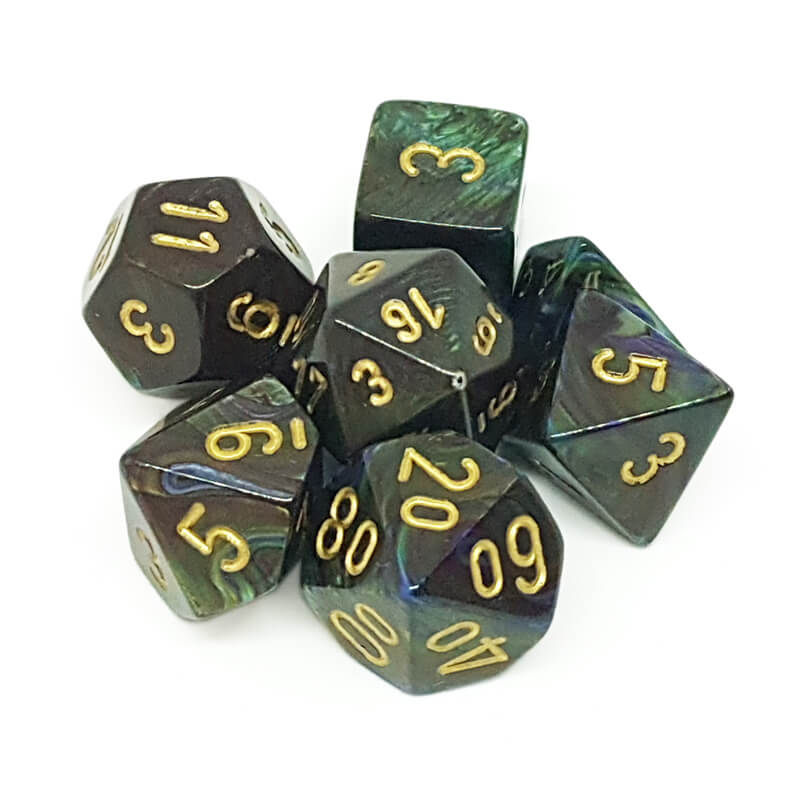 7 Dice Set - Chessex 27499 Lustrous Shadow/Gold - Imaginary Adventures