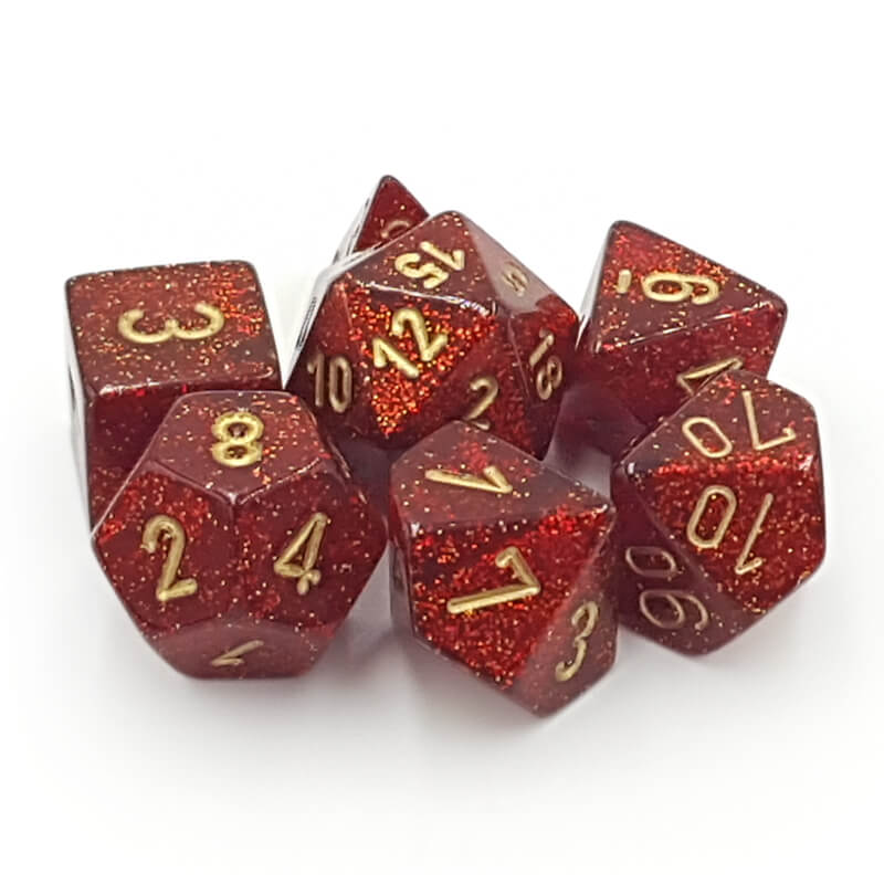 Chessex 27504 Glitter Ruby Red/Gold Dice Set - Imaginary Adventures