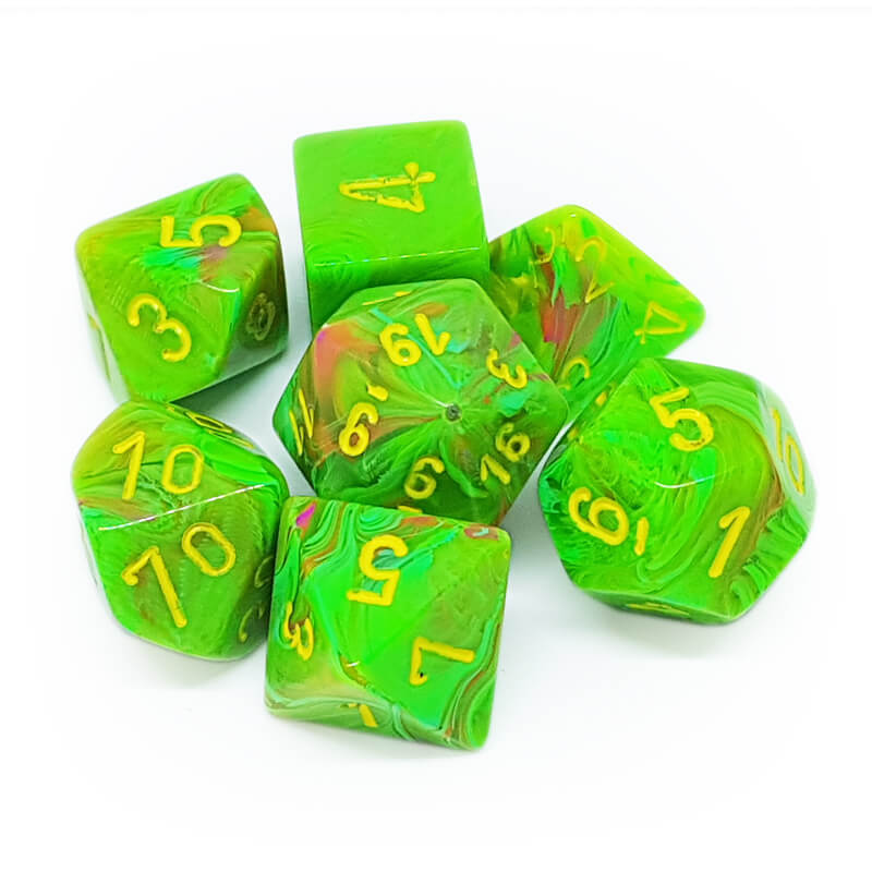 7 Dice Set - Chessex 27515 Vortex Slime/Yellow - Imaginary Adventures
