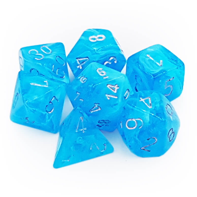 7 Dice Set - Chessex 27566 Luminary Sky/Silver - Imaginary Adventures