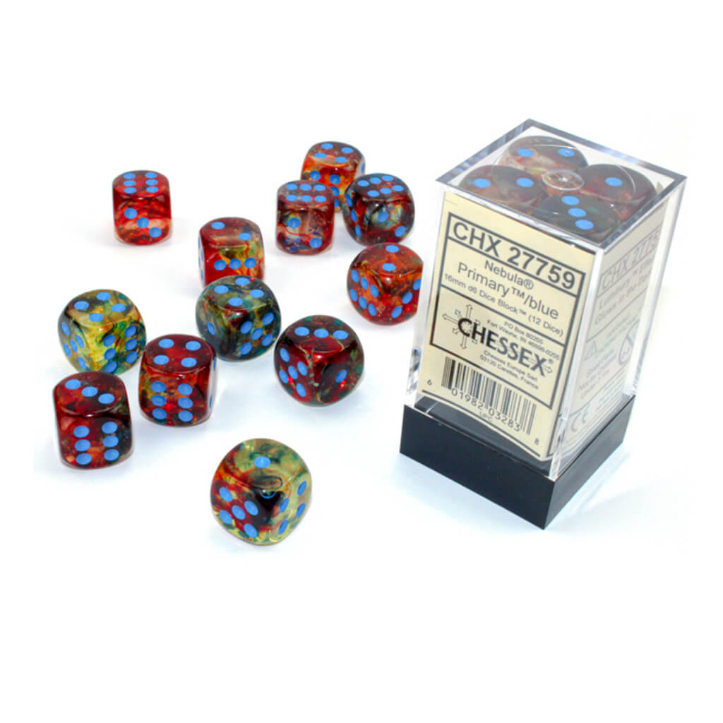 Chessex 27759 Luminous Nebula Primary with Blue 12d6 Dice Set