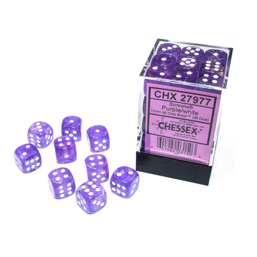 Chessex 27977 Luminary Borealis Purple with White 36d6 Dice Set