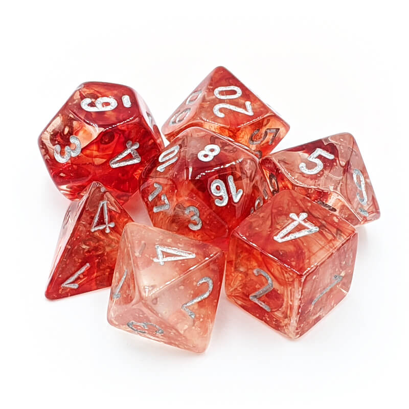 Chessex Lab Dice 30009 Nebula Red/Silver Dice Set - Imaginary Adventures