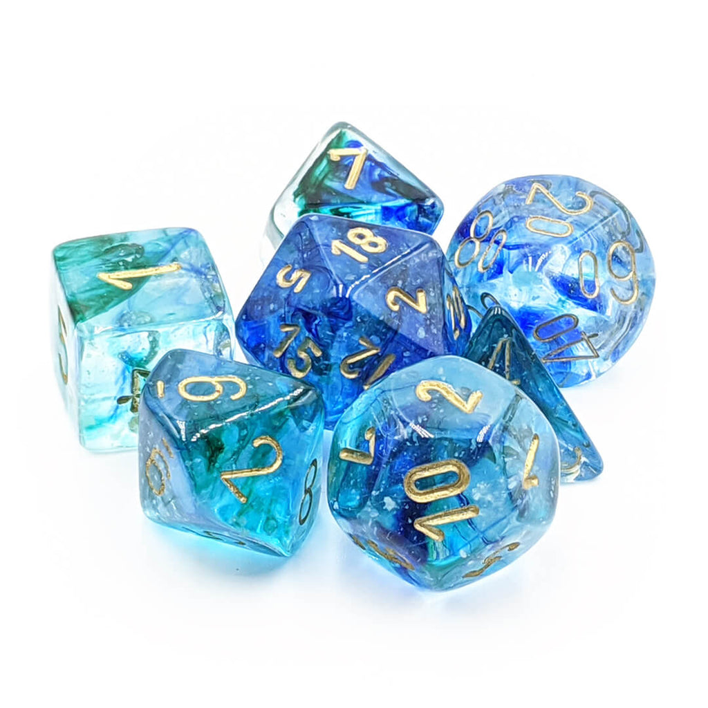 Chessex Lab Dice 30011 Nebula Oceanic/Gold Dice Set - Imaginary Adventures