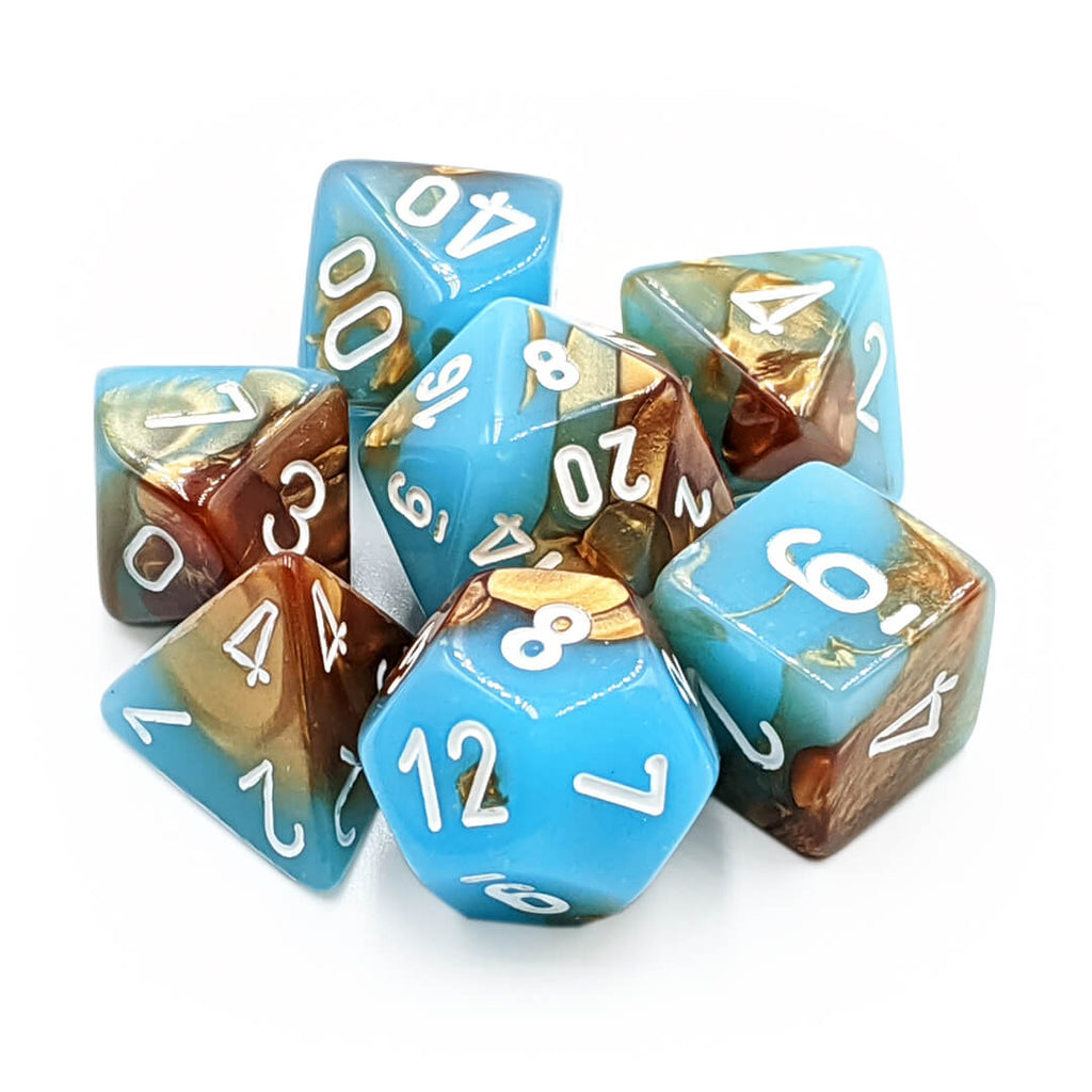 Chessex 30019 Gemini Copper Turquoise/White Dice Set - Imaginary Adventures