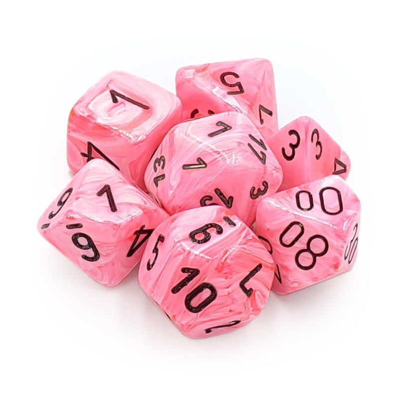 Chessex Lab Dice 30031 Snow Pink/Black Dice Set - Imaginary Adventures