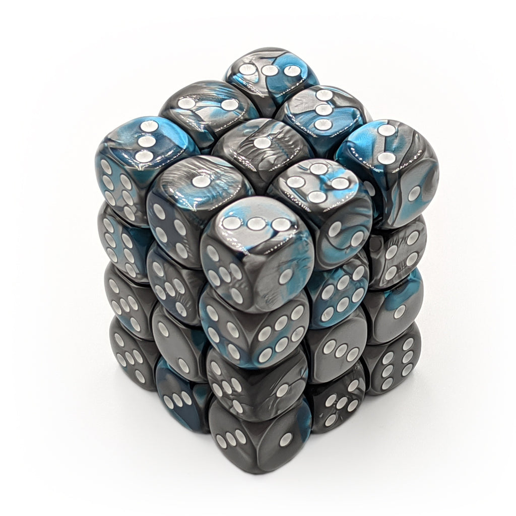 Chessex 26856 Gemini Steel-Teal/White 36d6 Dice Set - Imaginary Adventures