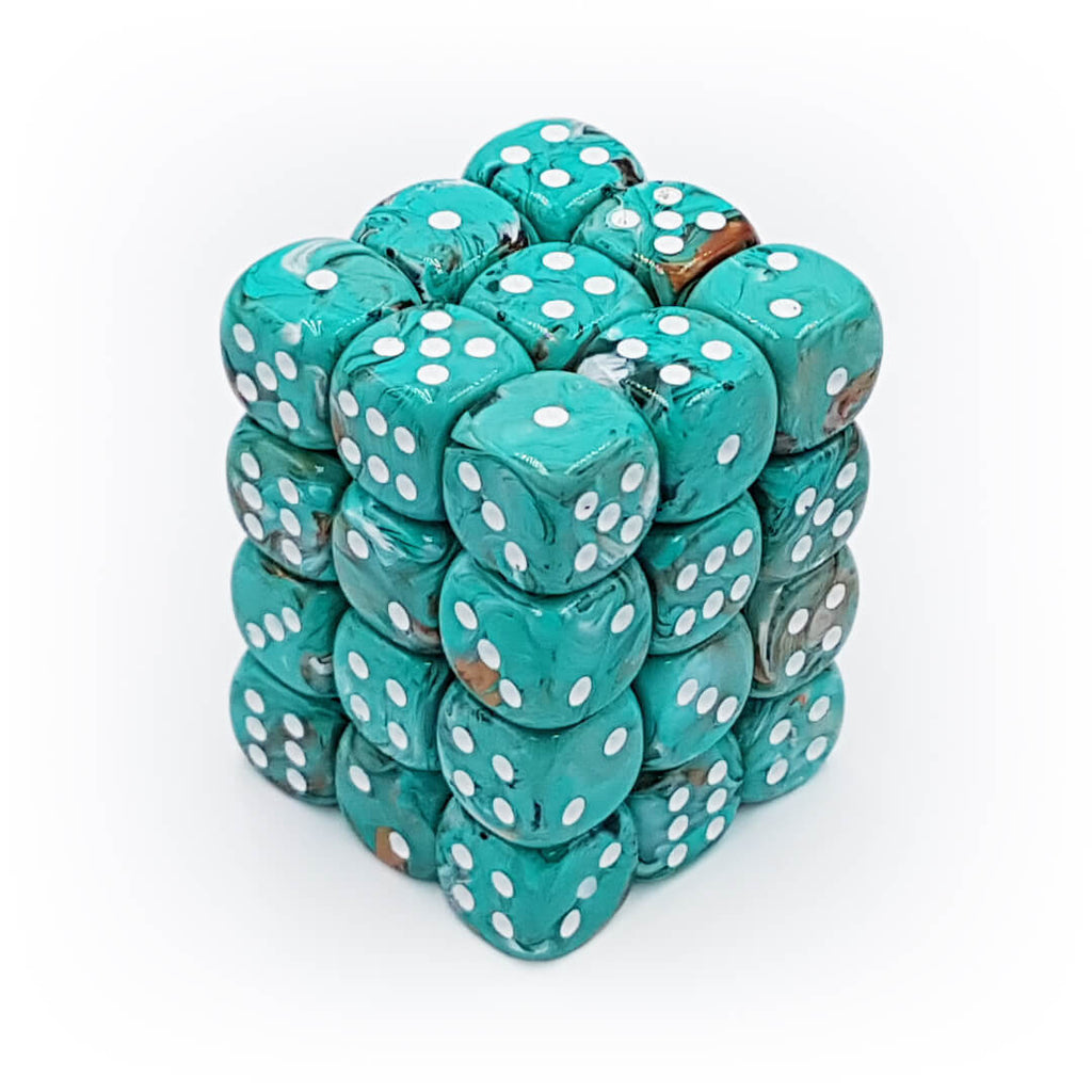 36d6 dice set - Chessex 27803 Marble - Oxi-Copper with White - Imaginary Adventures