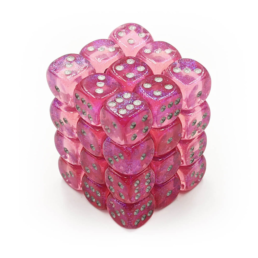 Chessex 27804 Borealis Pink/Silver 36d6 Dice Set - Imaginary Adventures