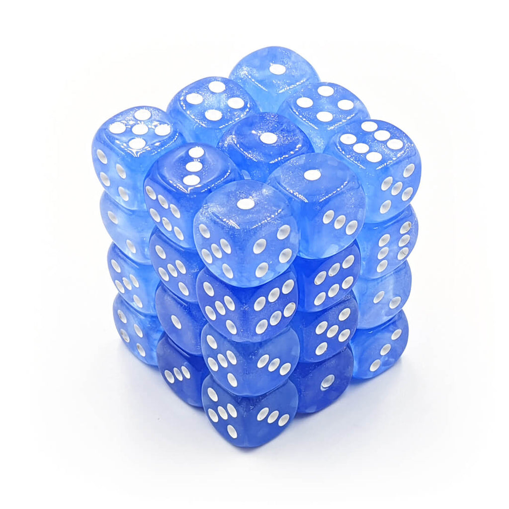 Chessex 27826 Borealis Sky Blue/White 36d6 Dice Set - Imaginary Adventures