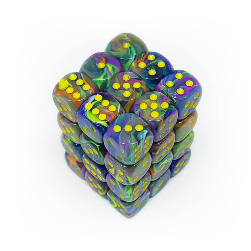 36d6 dice set - Chessex 27849 Festive - Rio with Yellow - Imaginary Adventures