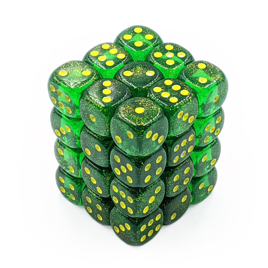 Chessex 27965 Borealis Maple Green/Yellow 36d6 Dice Set - Imaginary Adventures