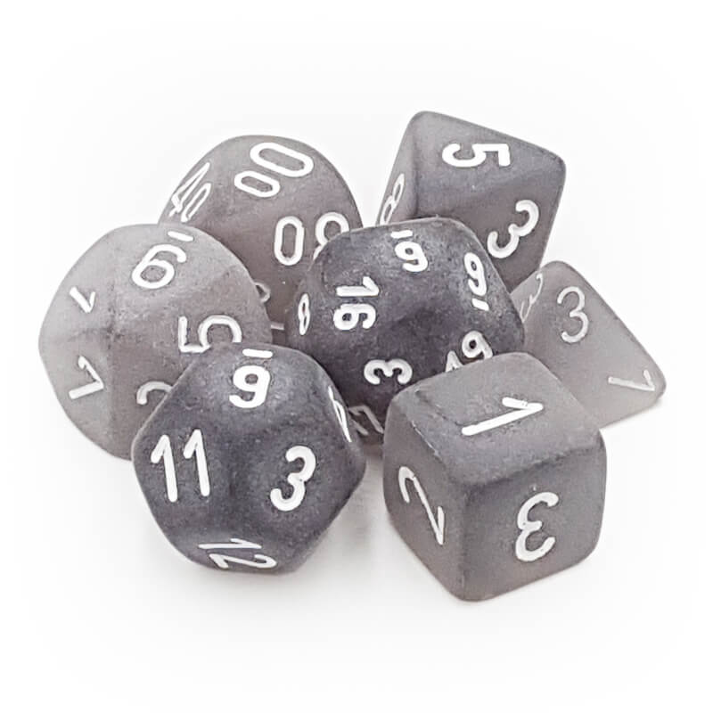 Chessex LE431 Frosted Smoke/White Dice Set - Imaginary Adventures