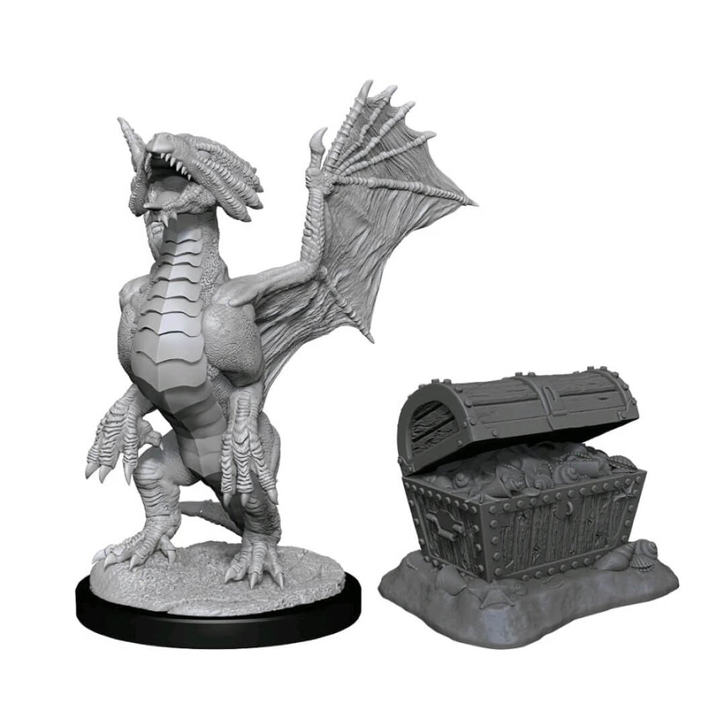 D&D Minis - Bronze Dragon Wyrmling & Pile of Sea Found Treasure
