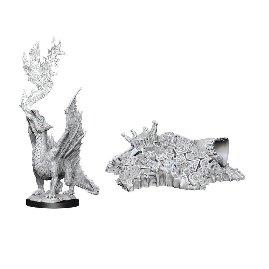 D&D Minis - Gold Dragon Wyrmling and Small Treasure Pile