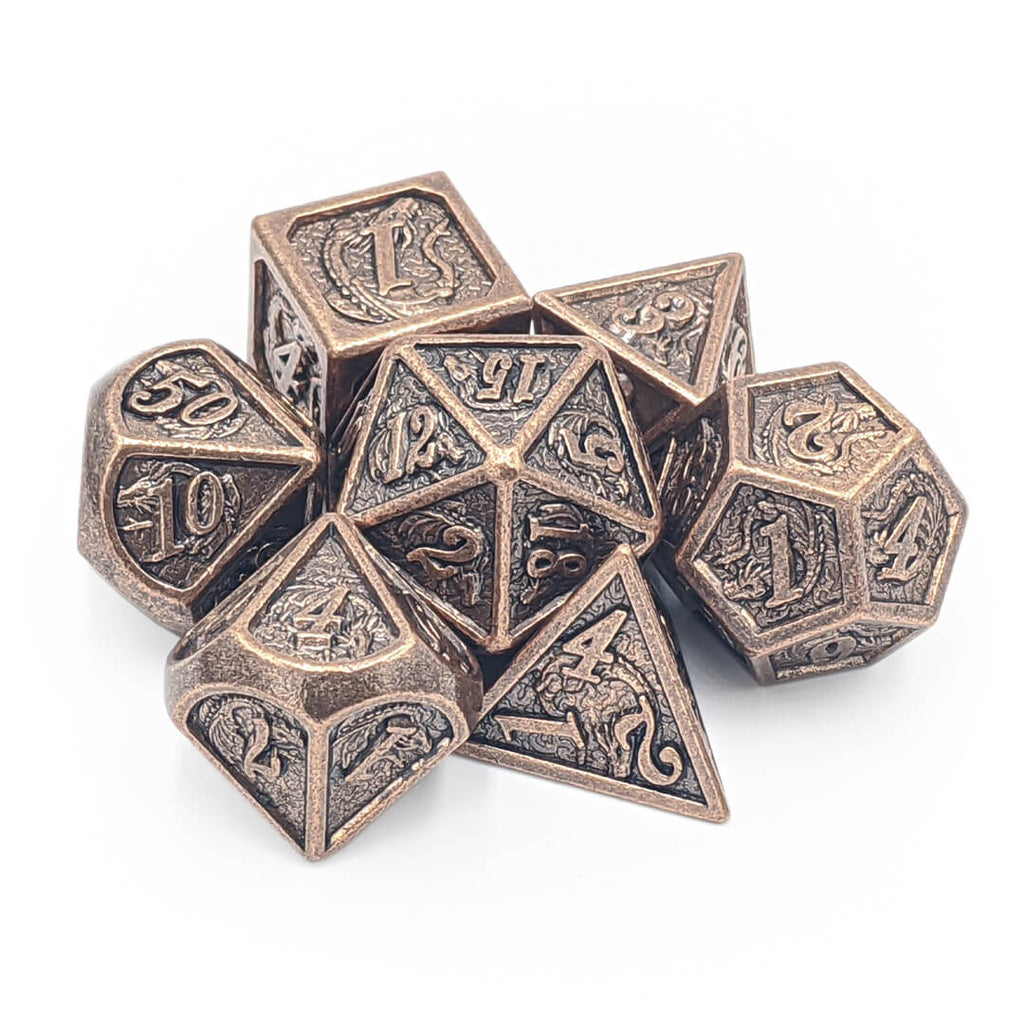 Ancient Copper Dragon Carving Oversized Metal Dice Set - Imaginary Adventures