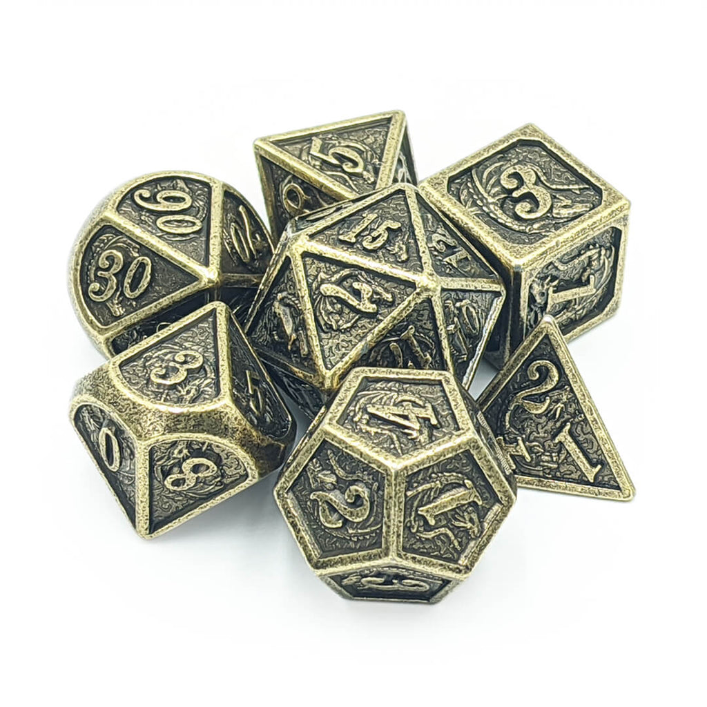 Ancient Gold Dragon Carving Oversized Metal Dice Set - Imaginary Adventures